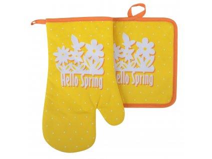 Kuchyňský set rukavice/chňapka HELLO SPRING žlutá 18x30 cm/20X20 cm ESSEX