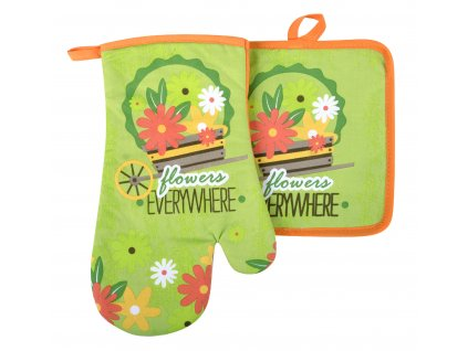 Kuchyňský set rukavice/chňapka FLOWERS zelená 18x30 cm/20X20 cm ESSEX