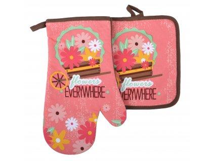 Kuchyňský set rukavice/chňapka FLOWERS růžová 18x30 cm/20X20 cm ESSEX