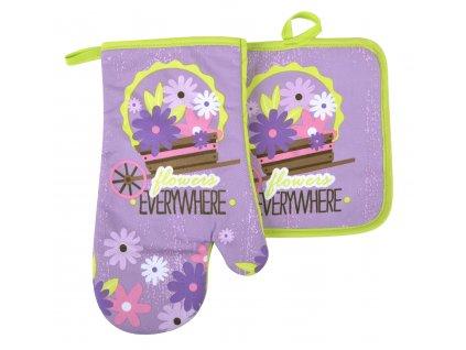 Kuchyňský set rukavice/chňapka FLOWERS fialová 18x30 cm/20X20 cm ESSEX