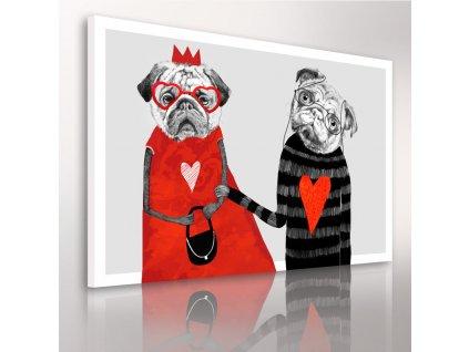 Obraz na plátně BULDOG IN RED - A různé rozměry Ludesign