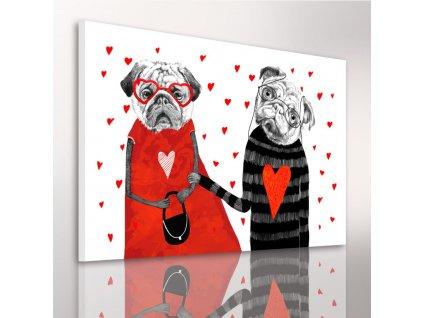 Obraz na plátně BULDOG IN RED - B různé rozměry Ludesign