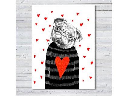 Obraz na plátně BULDOG IN LOVE různé rozměry Ludesign