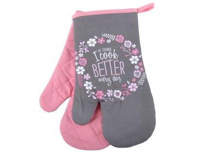 Kuchyňské rukavice chňapky SMART COOK 18x30 cm, růžová/šedá, Essex