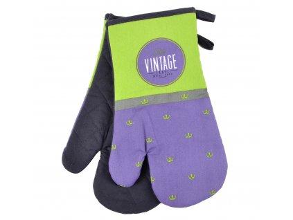 Kuchyňské bavlněné rukavice chňapky VINTAGE, fialová, 18x30 cm, 100% BAVLNA Essex