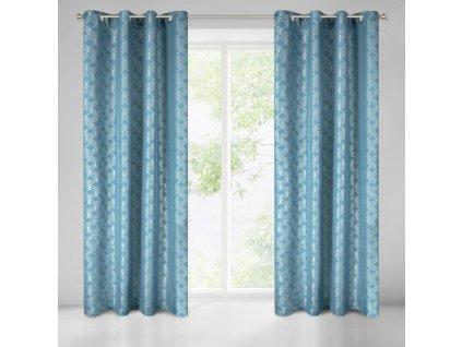 Kvalitní dekorační závěs v moderních barvách a vzorech se stříbrným potiskem do ložnice nebo obývacího pokoje o rozměru 140x250 cm s kroužky pro tyčovou gárnyž.
