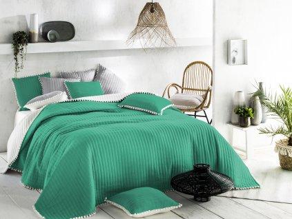 Přehoz na postel HARMONIA 220x240 cm zelená/krémová Mybesthome