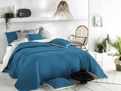 Přehoz na postel HARMONIA 220x240 cm modrá/krémová Mybesthome