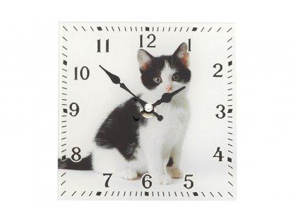 Skleněné stojací hodiny KOŤÁTKO 15x15 cm Mybesthome