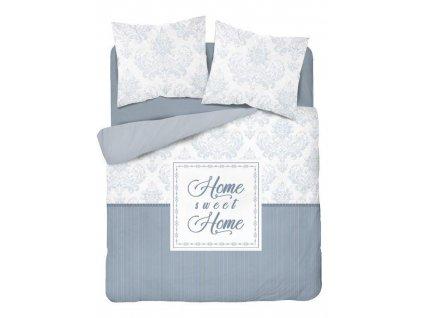 Povlečení MY HOME 21 100% bavlna bílá/šedá/modrá 1x 200x220 cm, 2x povlak 70x80 cm francouzské povlečení MyBestHome