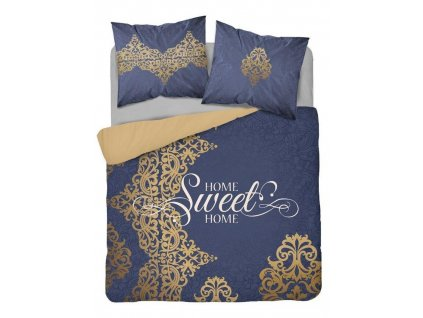 Povlečení MY HOME 26 100% bavlna modrá/zlatá 1x 200x220 cm, 2x povlak 70x80 cm francouzské povlečení MyBestHome