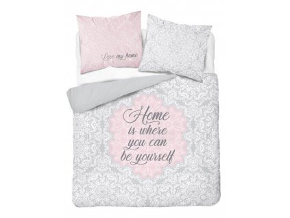 Povlečení MY HOME 28 100% bavlna šedá/bílá/růžová 1x 200x220 cm, 2x povlak 70x80 cm francouzské povlečení MyBestHome
