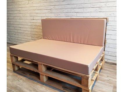 Paletové sezení - sedák 120x80 cm, opěrka 120x40 cm, barva béžová, výplň molitan Mybesthome