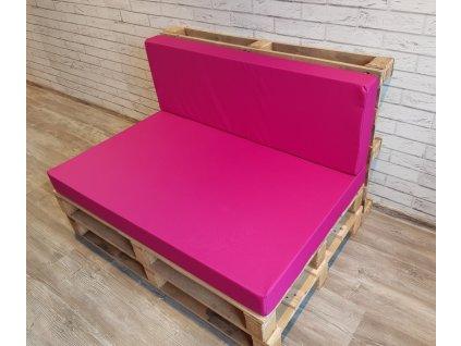 Paletové sezení - sedák 120x80 cm, opěrka 120x40 cm, barva růžová, výplň molitan Mybesthome