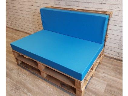 Paletové sezení - sedák 120x80 cm, opěrka 120x40 cm, barva světle modrá, výplň molitan Mybesthome