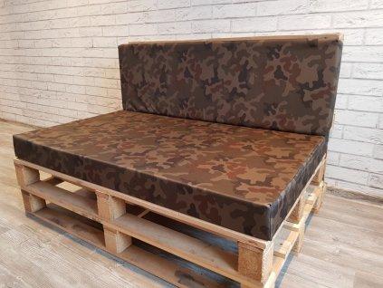 Paletové sezení - sedák 120x80 cm, opěrka 120x40 cm, barva khaki, výplň molitan Mybesthome