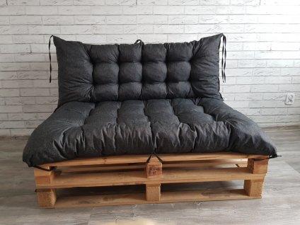 Paletové prošívané sezení - sedák 120x80 cm, opěrka 120x40 cm, barva černá120 40 czarny 3