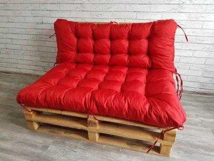 Paletové prošívané sezení - sedák 120x80 cm, opěrka 120x40 cm, barva červená, Mybesthome