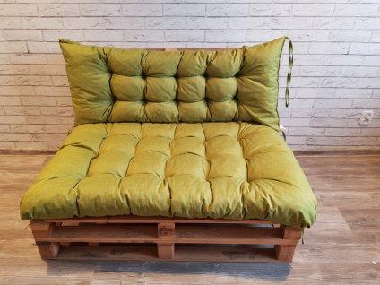 Paletové prošívané sezení - sedák 120x80 cm, opěrka 120x40 cm, barva zelená, Mybesthome