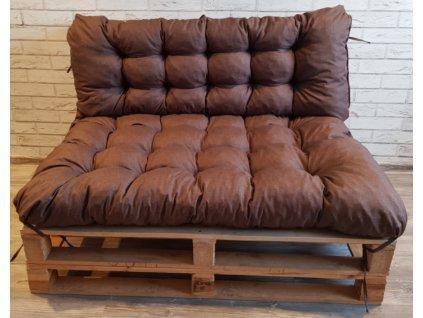 Paletové prošívané sezení - sedák 120x80 cm, opěrka 120x40 cm, barva hnědá,