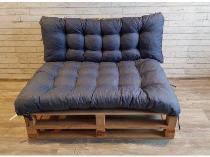 Paletové prošívané sezení - sedák 120x80 cm, opěrka 120x40 cm, barva modrá,