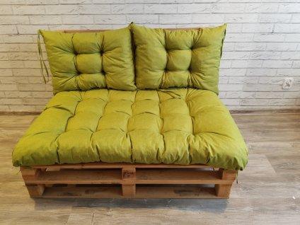 Paletové prošívané sezení - sedák 120x80 cm, 2x opěrka 60x40 cm, barva zelená, Mybesthome
