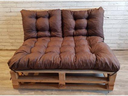 Paletové prošívané sezení - sedák 120x80 cm, 2x opěrka 60x40 cm, barva hnědá, Mybesthome