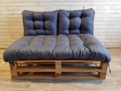 Paletové prošívané sezení - sedák 120x80 cm, 2x opěrka 60x40 cm, barva modrá, Mybesthome