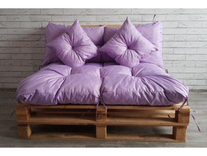 Paletové prošívané sezení - sedák 120x80 cm, opěrka 120x40 cm, 2x polštáře 30x30 cm, světle fialová, Mybesthome