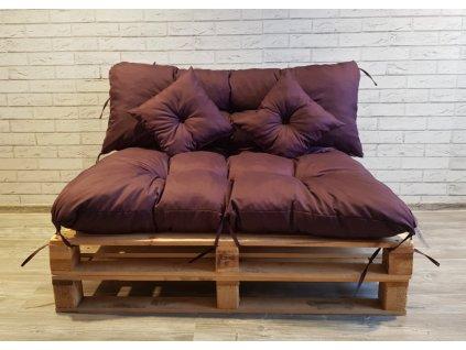 Paletové prošívané sezení - sedák 120x80 cm, opěrka 120x40 cm, 2x polštáře 30x30 cm, švestková, Mybesthome