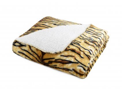 Přehoz s beránkem SAFARI 160x200 cm hnědá motiv tygr Essex