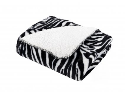 Přehoz s beránkem SAFARI 160x200 cm černá/bílá motiv zebra Essex