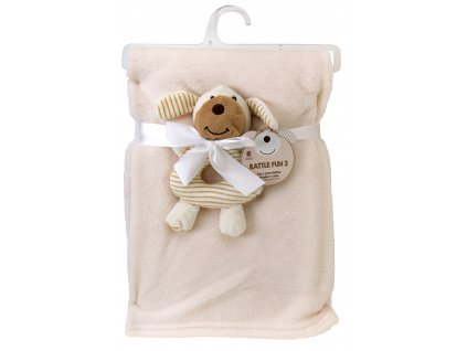 Dětská deka s chrastítkem pejsek RATTLE FUN béžová 75x100 cm Essex
