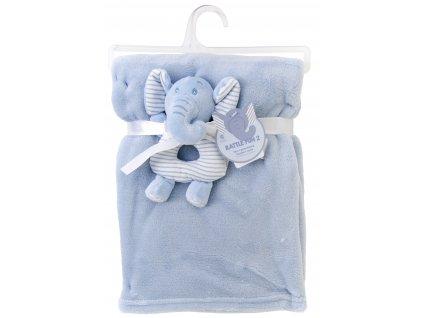 Dětská deka s chrastítkem slůně RATTLE FUN modrá 75x100 cm Essex