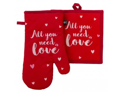 Kuchyňský SET rukavice/chňapka ADORE, červená, 18x30 cm/20X20 cm ESSEX, 100% bavlna