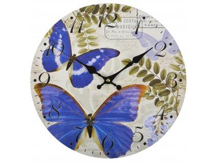 Nástěnné hodiny BLUE BUTTERFLY Ø 34 cm Mybesthome