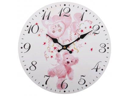 Nástěnné hodiny PINK BEAR Ø 34 cm Mybesthome