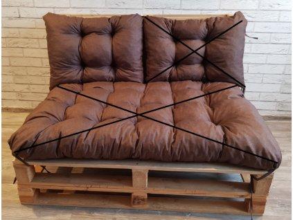 Paletové prošívané sezení - opěrka 60x40 cm, barva hnědá, Mybesthome