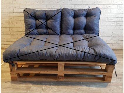 Paletové prošívané sezení - opěrka 60x40 cm, barva modrá, Mybesthome