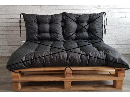 Paletové prošívané sezení - opěrka 60x40 cm, barva černá, Mybesthome