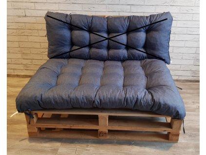 Paletové prošívané sezení - sedák 120x80 cm, barva modrá, Mybesthome
