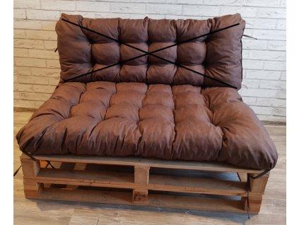 Paletové prošívané sezení - sedák 120x80 cm, barva hnědá, Mybesthome