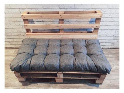 Paletové prošívané sezení - sedák 120x60 cm - 120x50 cm, barva šedá, Mybesthome