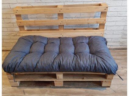 Paletové prošívané sezení - sedák 120x60 cm - 120x50 cm, barva modrá, Mybesthome