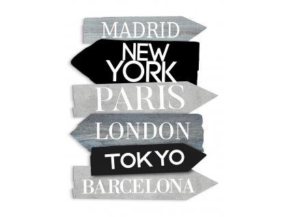 DECOR SIGN - CITIES GREY 40x50 cm Styler