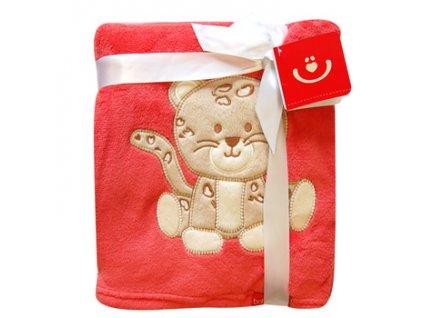 Dětská deka s aplikací KOČIČKA červená 76x102 cm Bobobaby