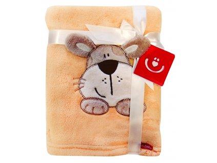 Dětská deka s aplikací PEJSEK hnědá 76x102 cm Bobobaby