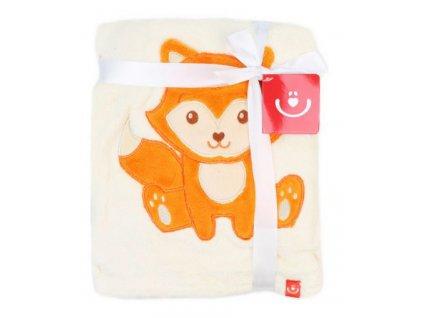 Dětská deka s aplikací LIŠKA smetanová 76x102 cm Bobobaby
