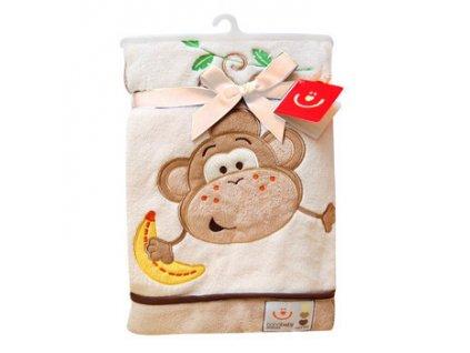 Dětská deka s aplikací OPIČKA smetanová 76x102 cm Bobobaby