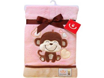 Dětská deka s aplikací OPIČKA růžová 76x102 cm Bobobaby